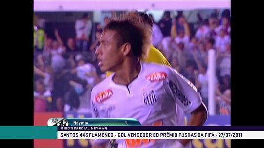 Neymar faz golaço contra o Flamengo no Brasileirão e ganha prêmio Puskas em 2011