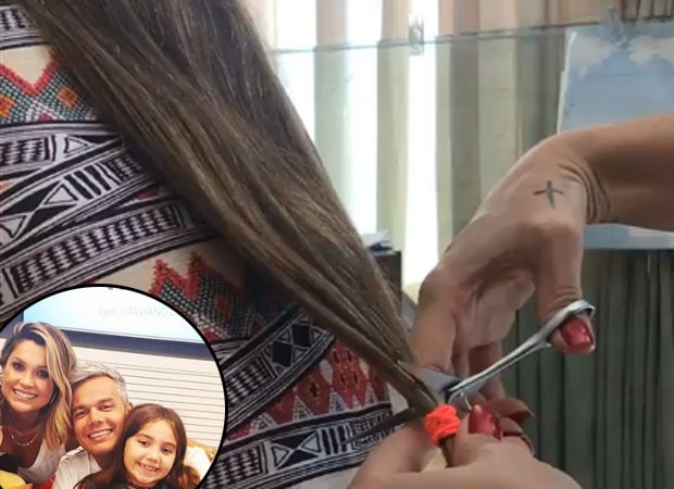 Flávia Alessandra corta cabelo de Olivia e Otaviano filma (Foto: Reprodução)