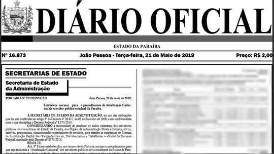 Foto: (Reprodução/Diário Oficial do Estado da Paraíba)