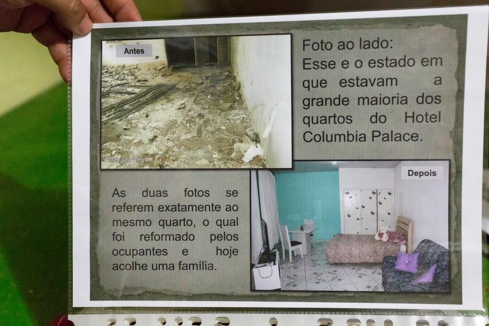 Moradores montaram álbum com fotos de quando entraram no prédio e depois da reforma feita em mutirão (Foto: Marcelo Brandt/G1)