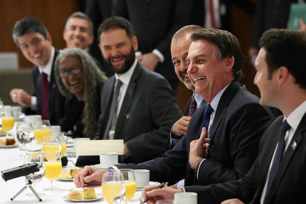 Jair Bolsonaro ofereceu café da manhã a jornalistas na manhã desta sexta-feira (5) no Palácio do Planalto — Foto: Marcos Corrêa/PR