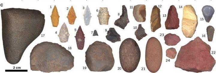 Ilustração das ferramentas encontradas no túmulo de mulheres caçadoras (Foto: Randy Haas / UC Davis)
