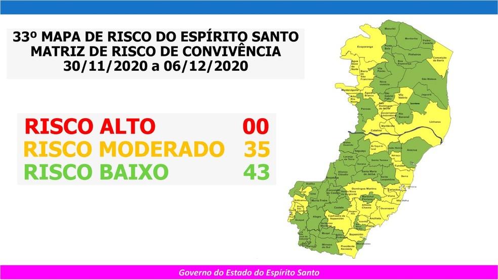Mapa de Risco Espírito Santo — Foto: Divulgação/ Governo do ES