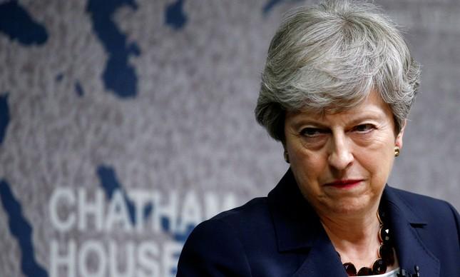A premiê britânica Theresa May, em discurso de despedida em Londres