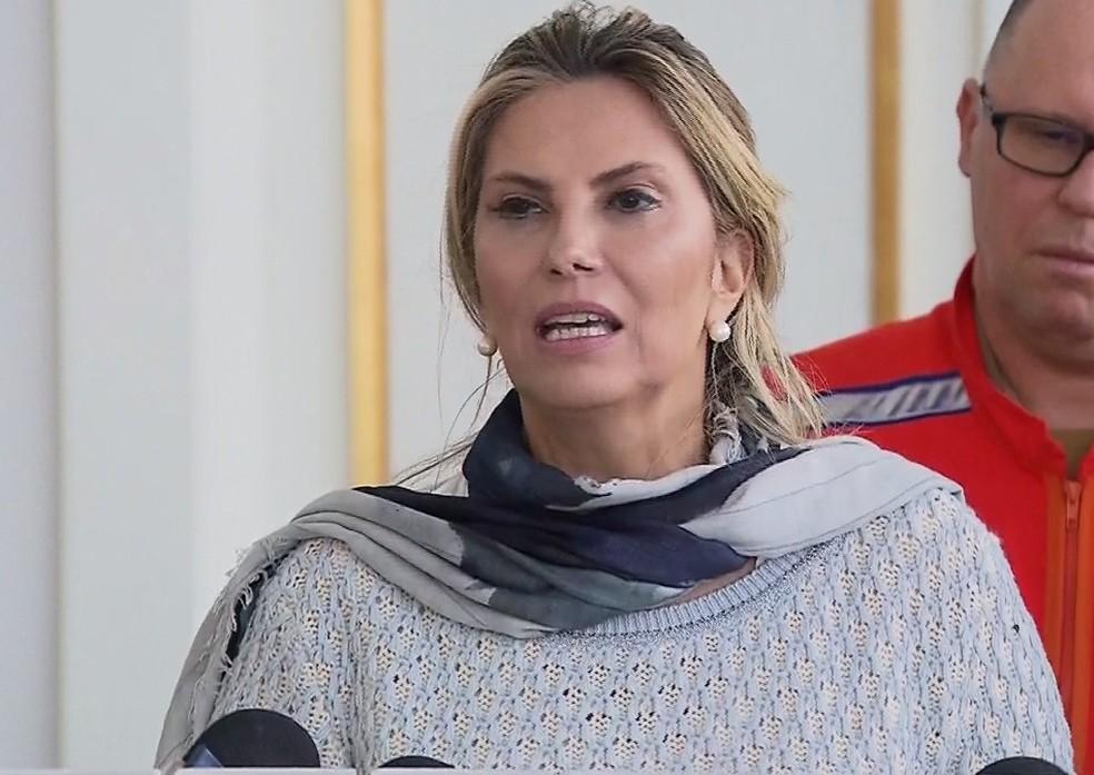Governadora do Paraná, Cida Borghetti (Progressistas), nesta segunda-feira (28) durante anúncio no Palácio Iguaçu, em Curitiba — Foto: RPC/Reprodução