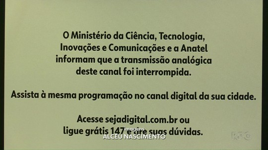 Sinal analógico é desligado em 155 cidades do Paraná