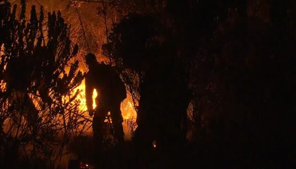 Brigadistas voluntários apagando últimos focos de incêndio na Chapada Diamantina, na madrugada de domingo (11). — Foto: Reprodução/TV Bahia