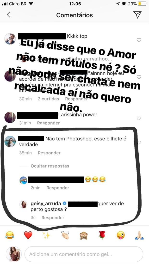 Comentário de seguidora em foto de Geisy Arruda (Foto: Reprodução/Instagram)
