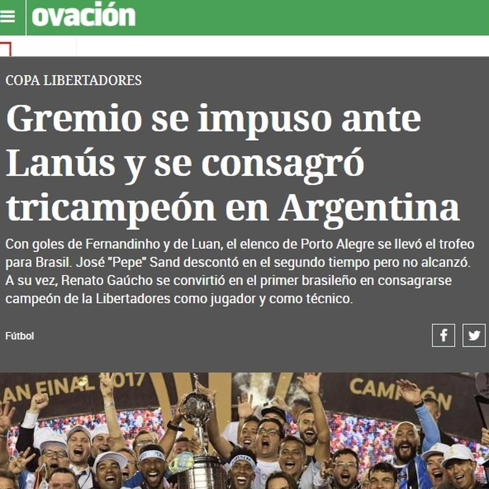 Ovacíon, suplemente de esportes do El Pais, do Uruguai (Foto: Reprodução)
