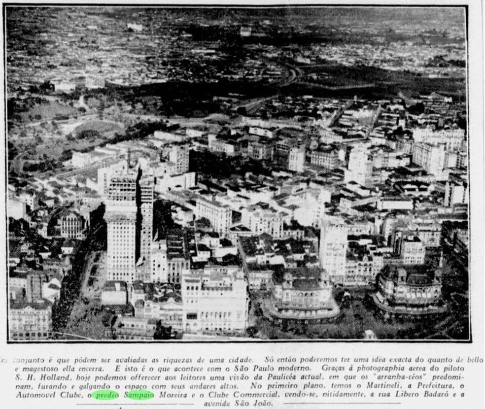 No primeiro plano é possível ver o Martinelli, a prefeitura, o Automóvel Clube, o Sampaio Moreira e o Clube Comercial. — Foto: Reprodução/Jornal A Gazeta