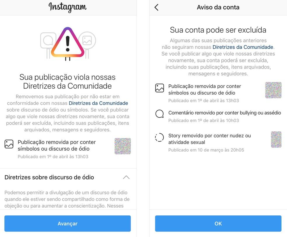 Nova política permite que o Instagram notifique o usuário se sua conta estiver em risco de desativação — Foto: Divulgação/Instagram