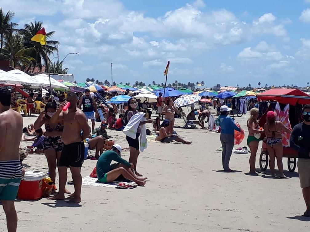 Porto de Galinhas, no Litoral Sul de Pernambuco, recebeu 90 mil banhistas no feriado da Independência — Foto: Anchieta Américo/TV Globo