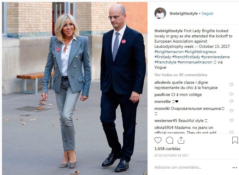 Look de Brigitte Macron (Foto: Reprodução/Instagram)