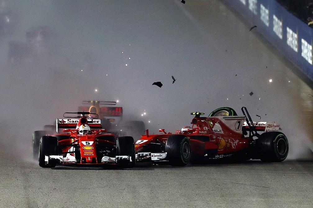 O drama da Ferrari em Cingapura (Foto: Getty Images)