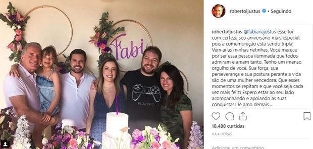 Roberto Justus presta homenagem a Fabiana após saber que será avô de gêmeas (Foto: Reprodução/Instagram)
