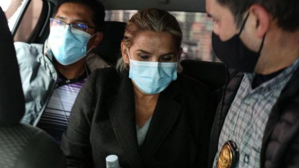 Áñez foi presa na madrugada de sábado — Foto: Getty Images