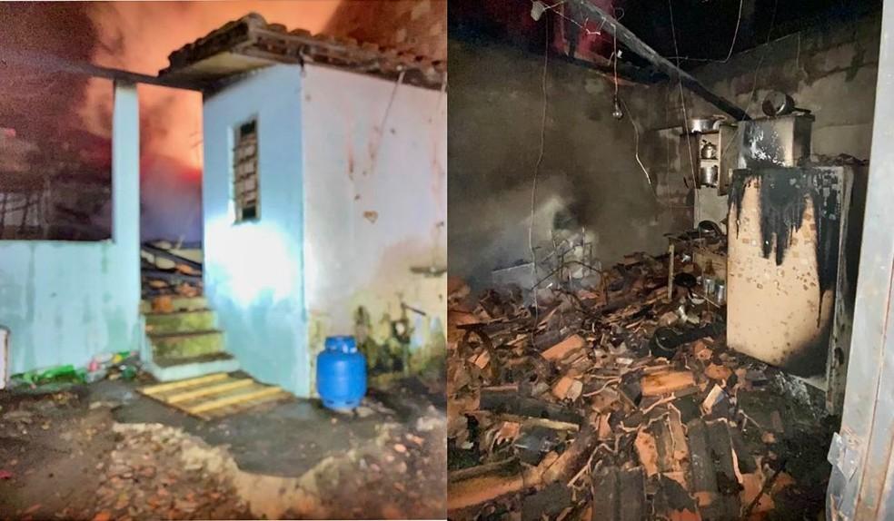 Duas casas foram atingidas pelas chamas e ficaram completamente destruídas em Fartura (SP) — Foto: Facebook/ Reprodução