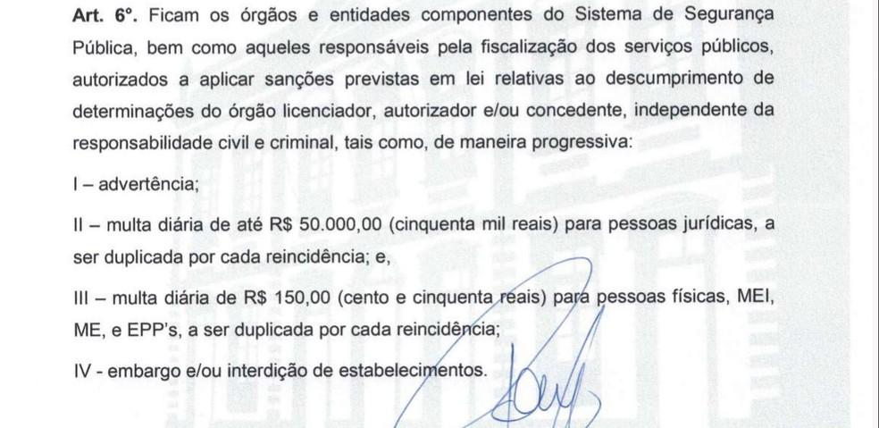 Decreto de Bragança prevê multa de R$ 150 a R$ 50 mil para quem desobedecer a medida de combate à Covid-19 — Foto: Reprodução