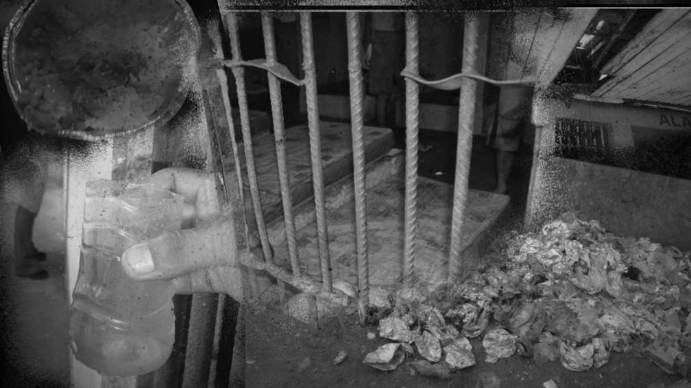 A vida atrás das grades: celas pequenas, abafadas e escuras, água contaminada, marmita azeda, lixo e esgoto a céu aberto — Foto: Mecanismo Nacional de Prevenção e Combate à Tortura (MNPCT) com fotos de relatório de 2020 do Amapá / Montagem: Nikolas Espíndola/G1