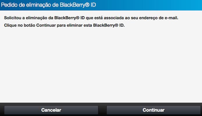 Confirme que deseja apagar a sua conta BlackBerry (Foto: Reprodução/Helito Bijora)