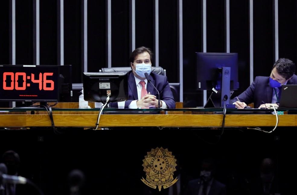 Rodrigo Maia (DEM-RJ) conduz sessão remota da Câmara dos Deputados nesta terça-feira (23) — Foto: Najara Araujo/Câmara dos Deputados
