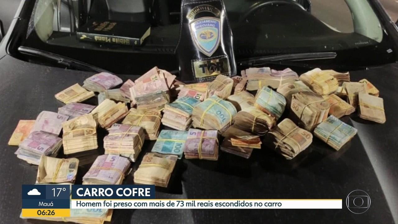 Homem é preso com mais de R$ 73 mil escondido no carro, no interior de SP