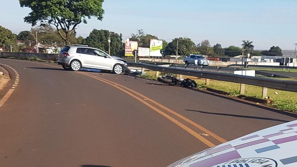 Motorista do carro fugiu após acidente com moto em Jaú — Foto: Divulgação/Tem Coisas Jaú