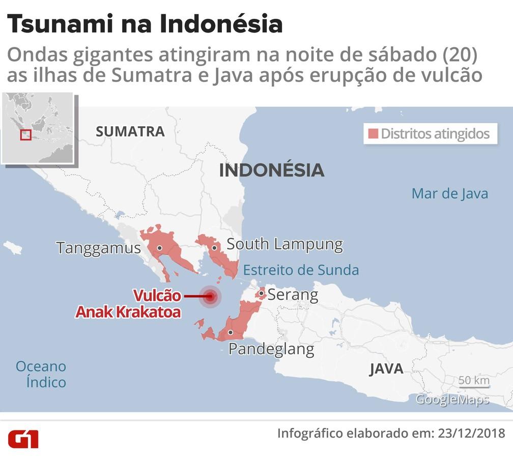 Tsunami atinge a Indonésia  — Foto: Igor Estrella/ G1