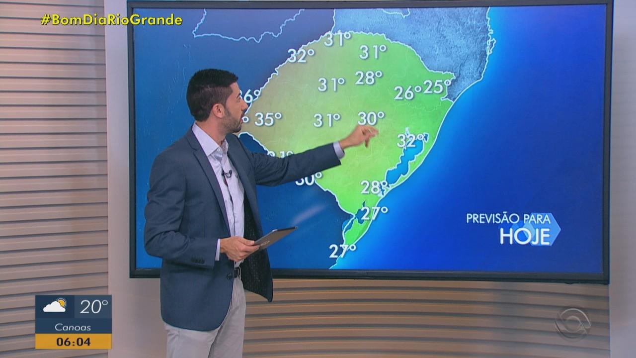 Segunda-feira (22) tem previsão de chuva e calor no RS