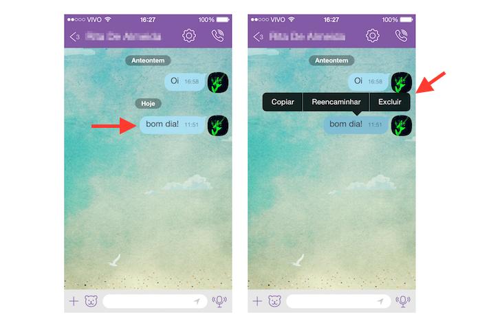 Excluindo uma mensagem enviada ou recebida no Viber (Foto: Reprodução/Marvin Costa)