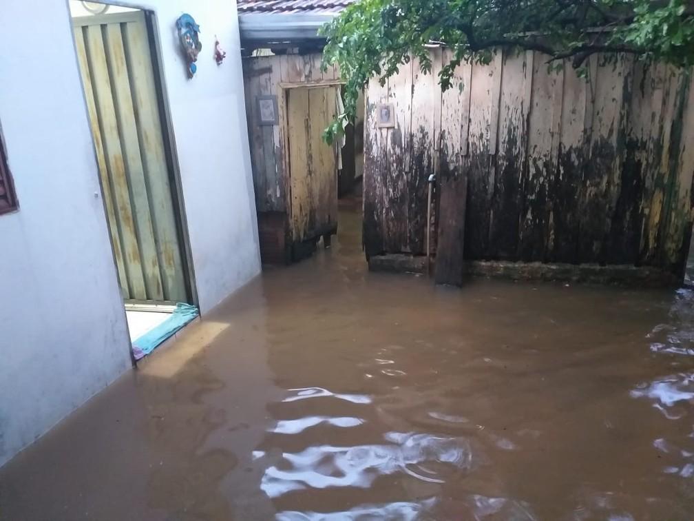 Casa foi alagada na Rua Casemiro Dias, em Presidente Prudente — Foto: Heloise Hamada/TV Fronteira
