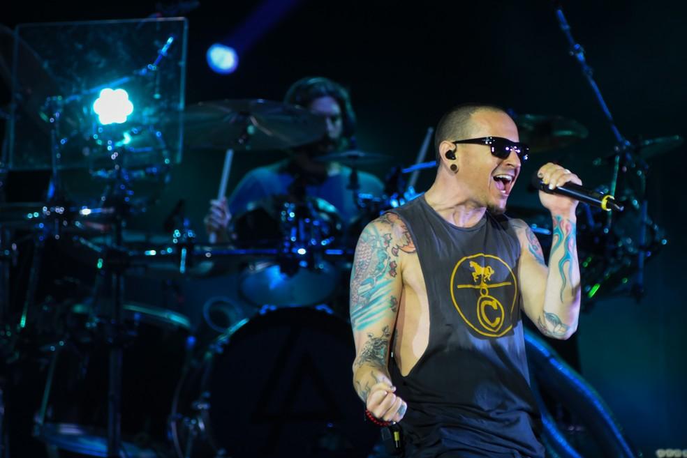 Linkin Park no Maximus Festival 2017, em maio deste ano (Foto: Flavio Moraes / G1)