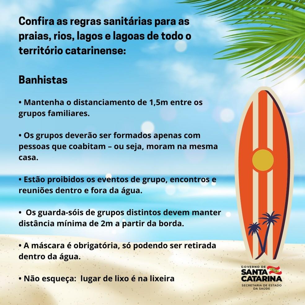 Regras divulgadas pela Secretaria de Estado da Saúde citam máscara obrigatória em praias, rios, lagos e lagoas, exceto quando o banhista estiver na água — Foto: Reprodução/Governo de Santa Catarina