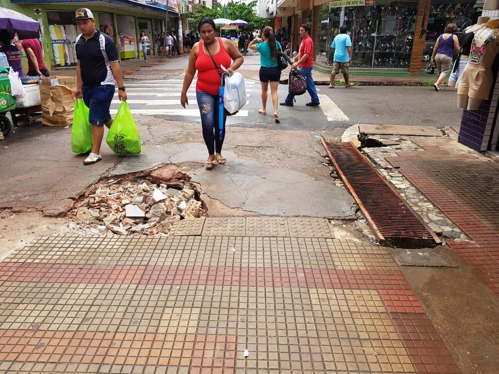 -  Situação do principal corredor de comércio de rua de Santarém  Foto: Reprodução/Redes sociais