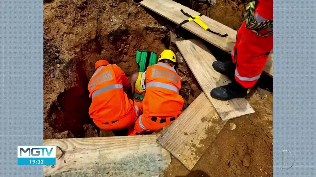 Homem é resgatado após cair em buraco em Valadares