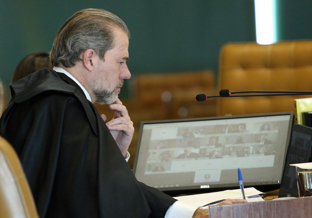 Ministro Dias Toffoli preside sessão plenária por videoconferência. — Foto: Nelson Jr./SCO/STF