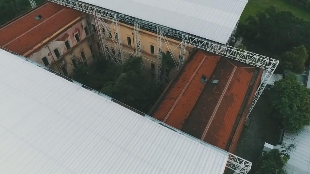 Grande parte do acervo do Museu Nacional foi destruída no incêndio em 2018 — Foto: Reprodução/TV Globo