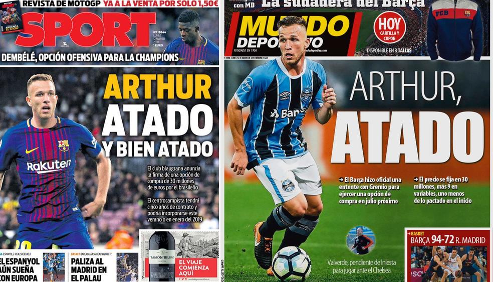 Arthur é destaque nas capas dos diários esportivos de Barcelona nesta segunda-feira (Foto: Reprodução)