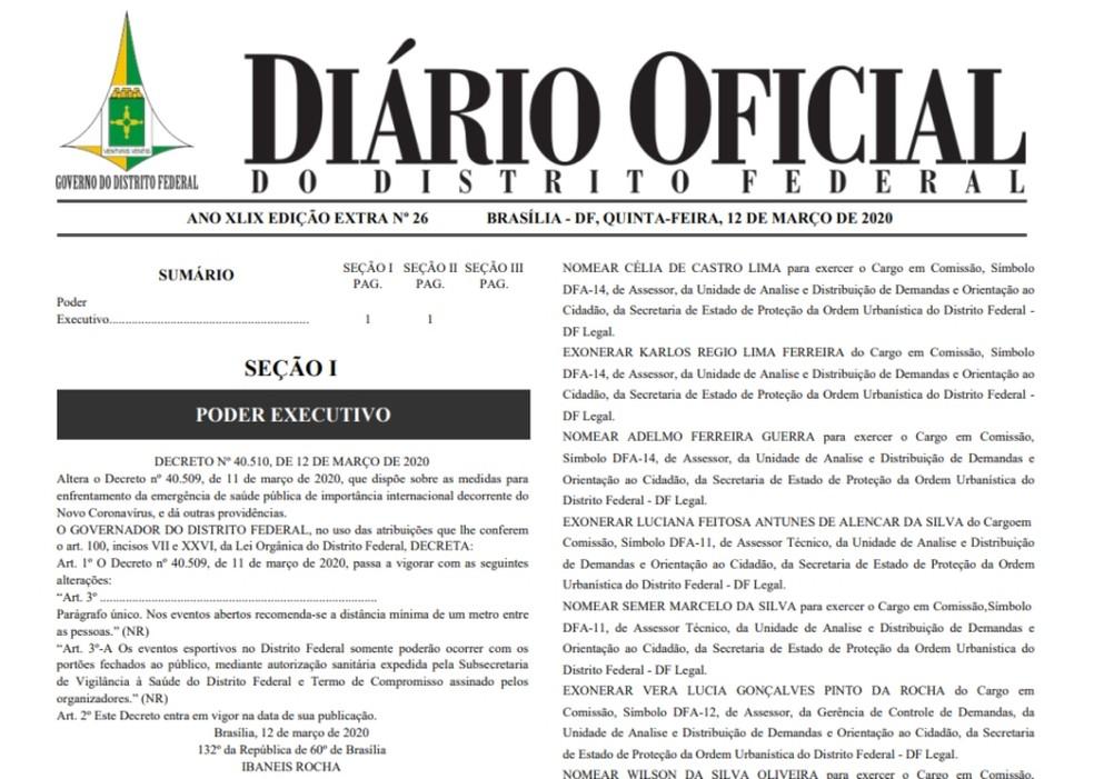 Decreto recomenda-se em eventos 1 metro de distância entre pessoas devido coronavírus. — Foto: Diário Oficial do DF/Reprodução
