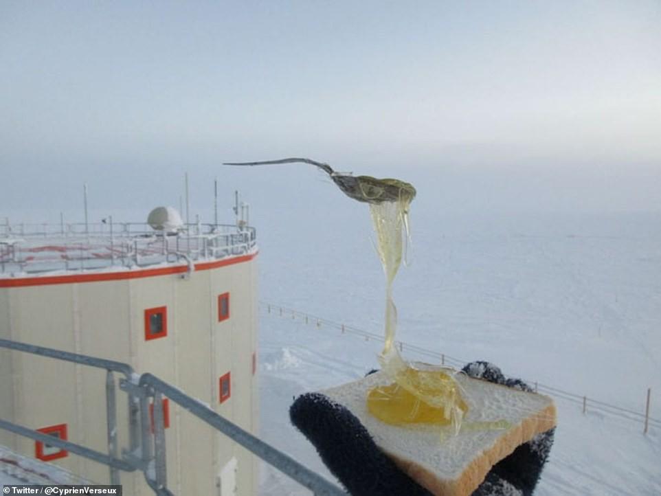 Pão com ovo gourmet leva bastante gelo (Foto: Cyprien Verseux/Twitter)
