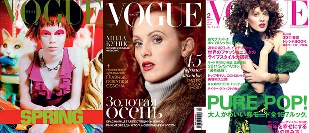 Vogue Itália (fevereiro de 1997), Vogue Ucrânia (setembro de 2014) e Vogue Japão (fevereiro de 2011) (Foto: Divulgação)