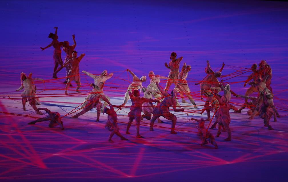 Uma das primeiras imagens da cerimônia de abertura das Olimpíadas, em 23 de julho de 2021 — Foto: Phil Noble/Reuters
