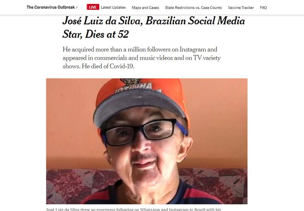 Jornal norte-americano 'New York Times' repercute morte de Jotinha — Foto: Reprodução/New York Times