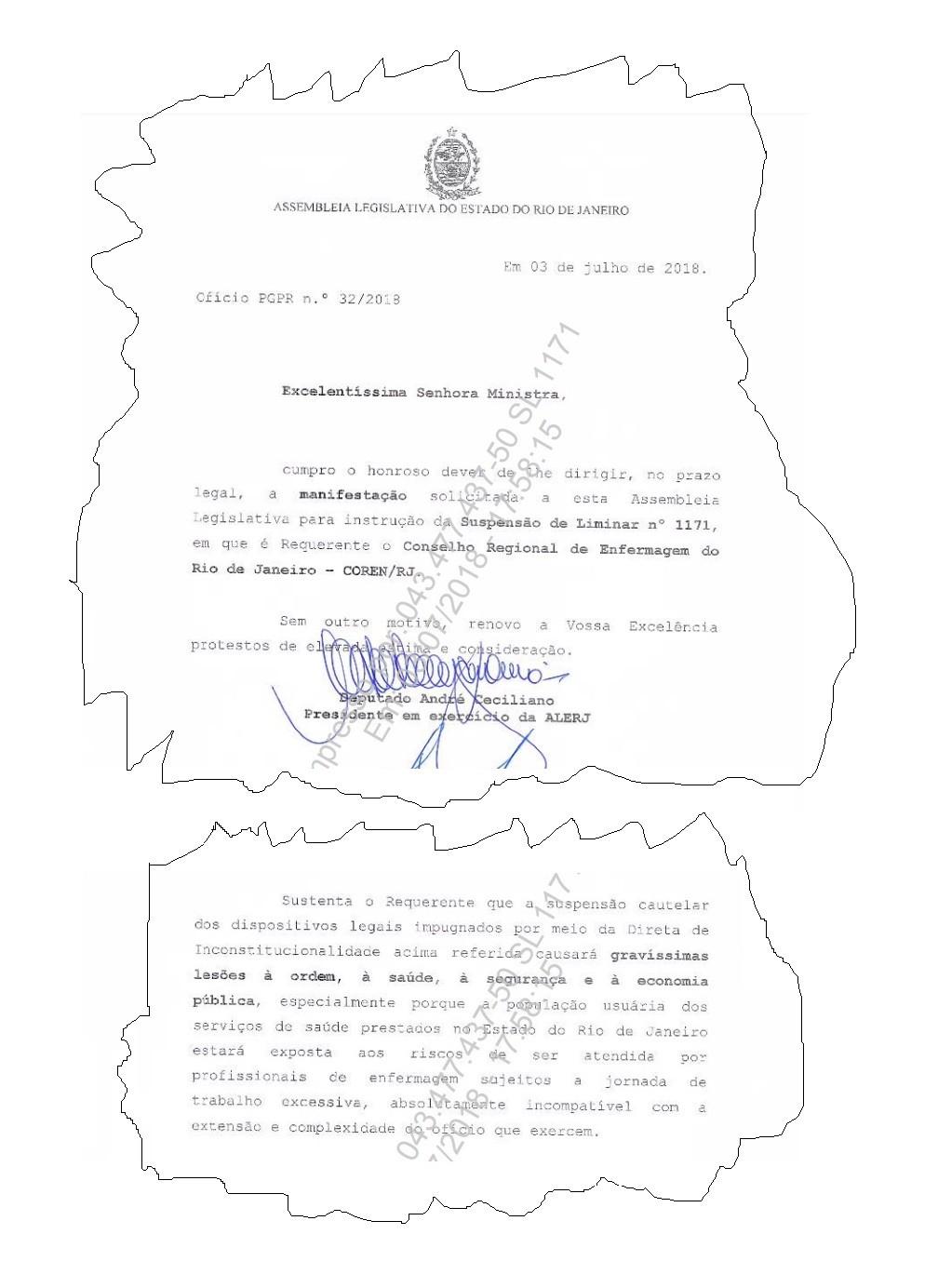 Reprodução de trecho do documento da Alerj