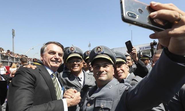 Jair Bolsonaro em solenidade de encerramento de curso da PM em São Paulo