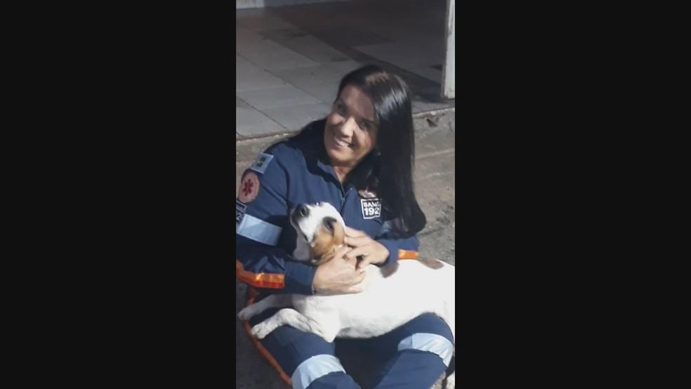 Enfermeira do Samu posa com 'Nada Consta' após cachorro pegar carona em ambulância — Foto: Arquivo pessoal