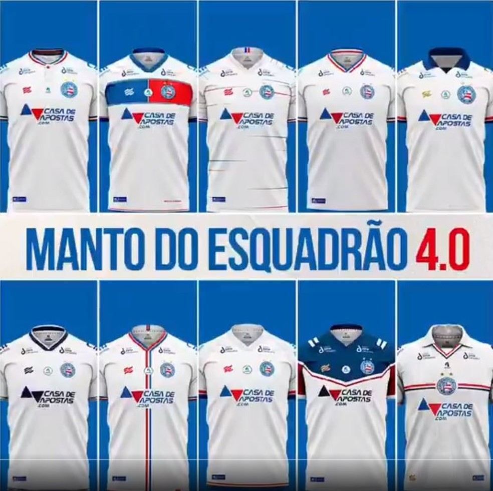 Bahia divulga camisas escolhidas em concurso com os sócios — Foto: Divulgação/E.C. Bahia