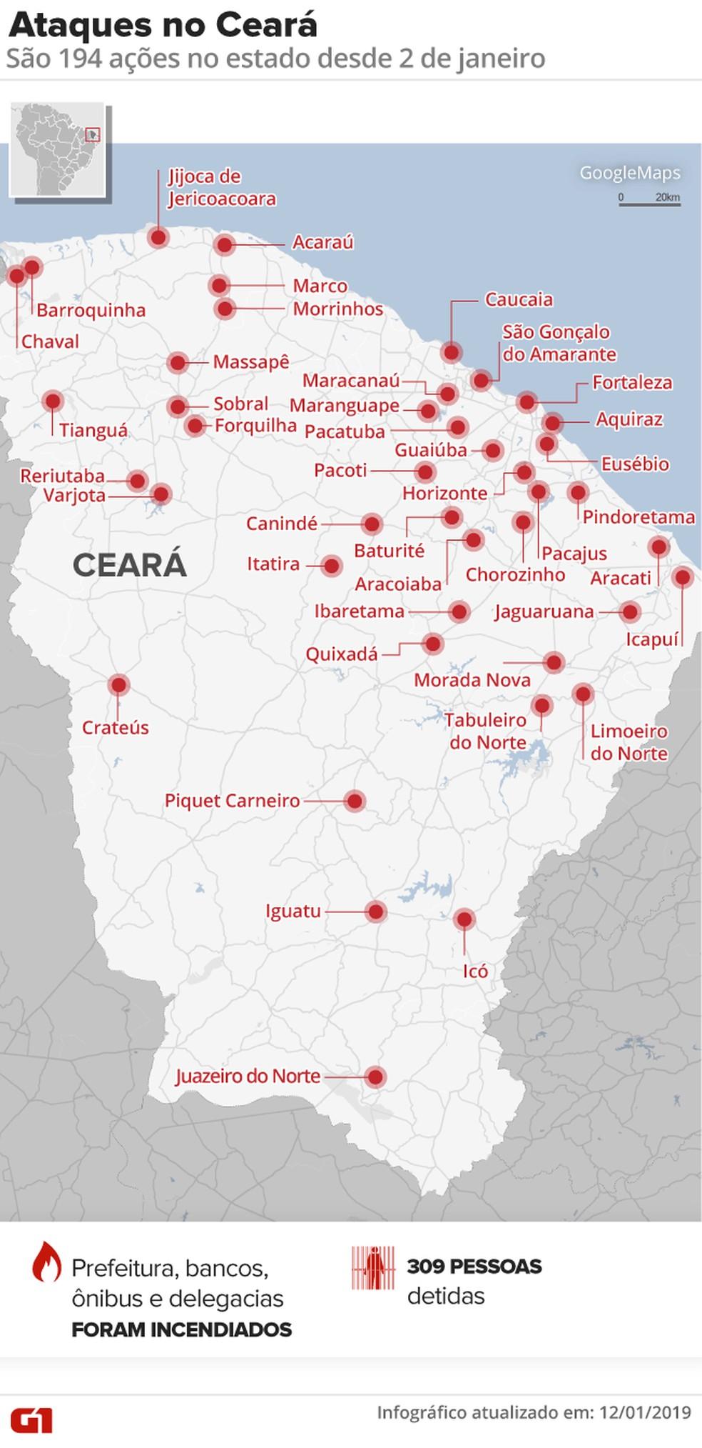 Desde o dia 2 de janeiro, foram registradas 194 ações criminosas em 43 municípios — Foto: Arte G1