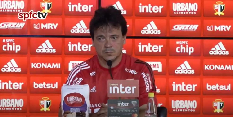 Fernando Diniz durante entrevista coletiva — Foto: Reprodução