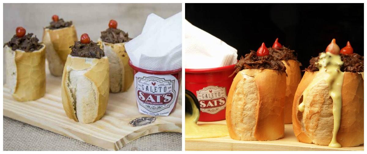 Cacetinho do Sat´s: Sanduíche de pão de trigo com carne de músculo assado e desfiado, no molho de cerveja preta